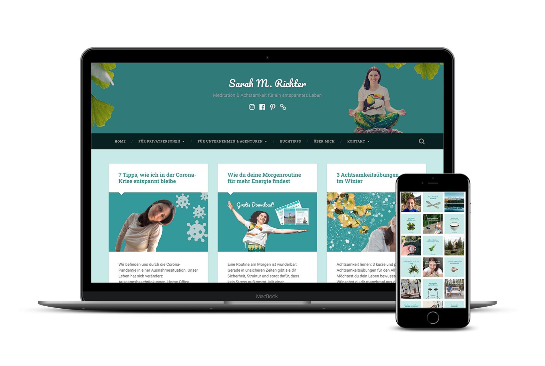 Website von Sarah M. Richter, Trainerin für Stressbewältigung